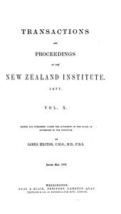 Transactions and Proceedings of the New Zealand Institute: Volume 10
