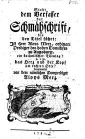 """Steht dem Verfasser der Schmähschrift: """"Ist Al. Merz ein katholischer Theolog ...?"""" das Herz und der Kopf am rechten Orte?"""