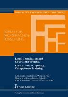 Legal Translation and Court Interpreting  Ethical Values  Quality  Competence Training PDF