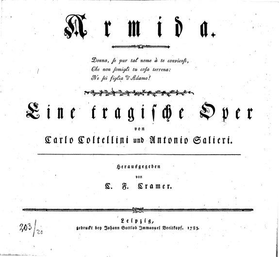 Armida      Eine tragische Oper von Carlo Coltellini und Antonio Salieri  Herausgegeben von C  F  Cramer PDF