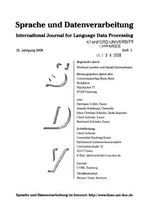 Sprache und Datenverarbeitung PDF