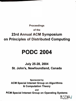 Proceedings of the     Annual ACM Symposium on Principles of Distributed Computing PDF