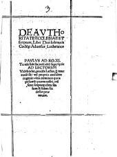 De Auctoritate Ecclesiae et Scripturae: libri 2 adversus Lutheranos