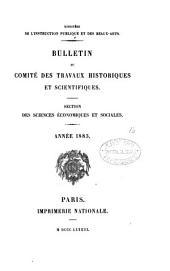 Bulletin du Comité des travaux historiques et scientifiques: Section des sciences économiques et sociales, Volume1