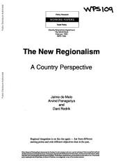 The New Regionalism: A Country Perspective, Issue 1094