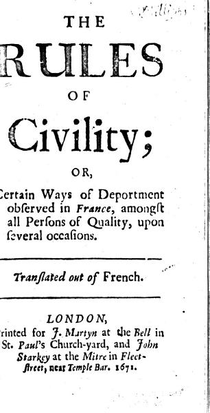 Download The Rules of Civility  Or  Certain Ways of Deportment Observed in France     Book