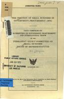 The Position of Small Business in Government Procurement  1974 PDF