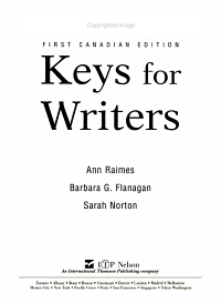 Exercise Booklet for Keys for Writers  First Canadian Edition