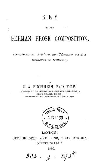 Key to the German prose composition PDF