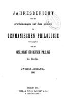 JAHRESBERICHT UBER DIE ERSCHIENUNGEN AUF DEM GEBIETE DER GERMANICHEN PHILOLOGIE  PDF