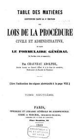 Lois de la procédure civile et administrative: Volume9