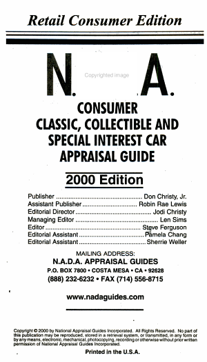 NADA Consumer Classic Collectible and Special Interest Car Appraisal Guide