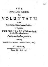 Disputatio Iuridica De Voluntate