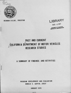 Past and Current California Department of Motor Vehicles Research Studies PDF