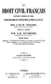 Le droit civil français suivant l'ordre du code: 2.1, Volume8