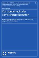Das Sonderrecht der Familiengesellschaften PDF