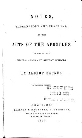 Notes  Explanatory and Practical  on the Acts of the Apostles PDF