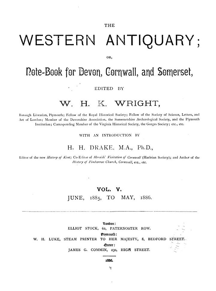 The Western Antiquary; Or, Devon and Cornwall Note-book