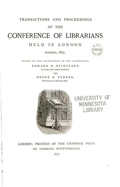 Download Transactions and Proceedings of the Conference of Librarians Book