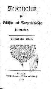Repertorium für Biblische und Morgenländische Litteratur: Bände 17-18