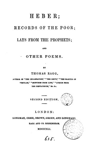 Heber  Records of the Poor  Lays from the Prophets  and Other Poems