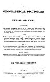 A Geographical Dictionary of England and Wales