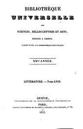 Bibliothèque universelle des sciences, belles-lettres et arts: Volume58