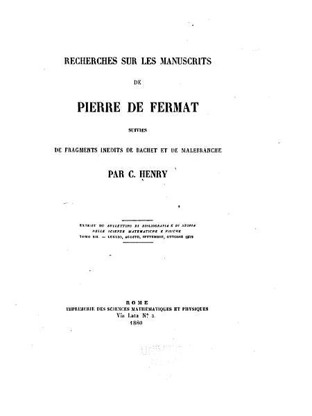 Download Recherches Sur Les Manuscrits de Pierre de Fermat Book