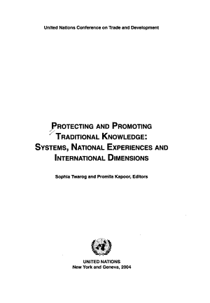 Protecting and Promoting Traditional Knowledge PDF