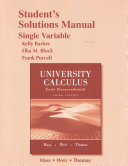 Student Solutions Manual Part for University Calculus  Early Transcendentals  Single Variable