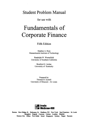 Student Problem Manual for Use with Fundamentals of Corporate Finance  Fifth Edition  Stephen A  Ross  Randolph W  Westerfield  Bradford D Jordan PDF