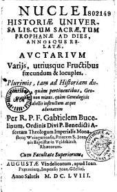 Historiae universalis auctarium sive Nuclei historici pars secunda...