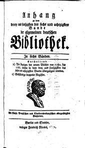 Anhang zu dem...Bande der Allgemeinen Deutschen Bibliothek: Band 53,Teil 1 -Band 86,Teil 1