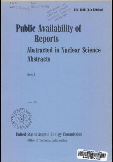 Public Availability of Reports Abstracted in Nuclear Science Abstracts PDF