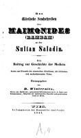 Das di  tetische Sendschreiben des Moses Maimonides  Rambam  an den Sultan Saladin PDF
