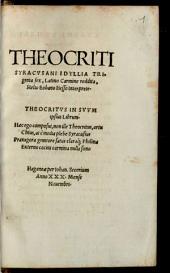 THEOCRITI SYRACVSANI IDYLLIA TRIginta sex