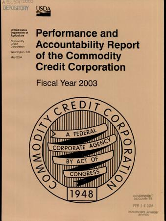 Performance and Accountability Report of the Commodity Credit Corporation PDF