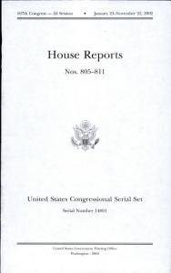 United States Congressional Serial Set  Serial No  14801  House Reports Nos  805 811 PDF