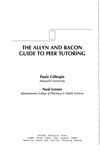 The Allyn and Bacon Guide to Peer Tutoring