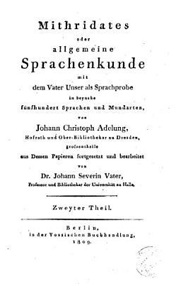 Mithridates oder Allgemeine Sprachenkunde PDF