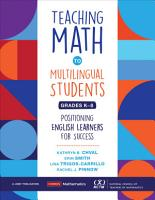 Teaching Math to Multilingual Students  Grades K 8 PDF