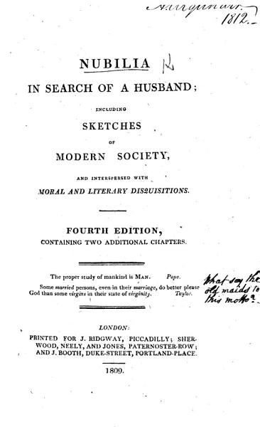 Nubilia in Search of a Husband      By William Mudford   Second edition  containing two additional chapters PDF