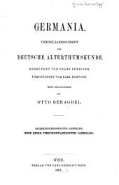 Germania: Vierteljahrsschrift für deutsche alterthumskunde ..., Band 36