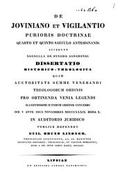 De Joviniano et Vigilantio purioris doctrinae quarto et quinto saeculo antesignanis