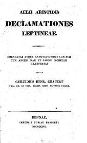 Aelii Aristidis Declamationes Leptineae