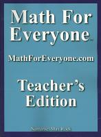 Math for Everyone Teachers Edition PDF
