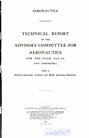 Technical Report of the Advisory Committee for Aeronautics for the Year
