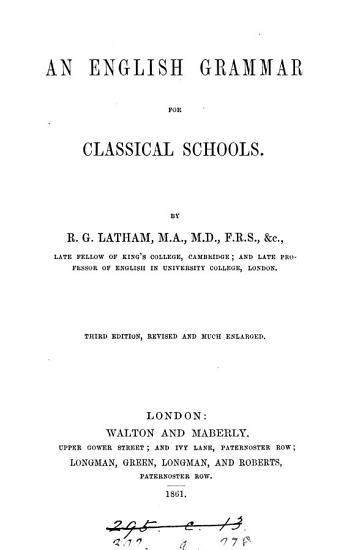 An English grammar for classical schools PDF