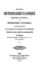 Nouveau dictionnaire classique d'histoire naturelle; ou, Répertoire universel des sciences naturelles et physiques: Volume4