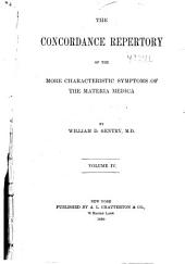The Concordance Repertory of the More Characteristic Symptoms of the Materia Medica: Volume 4